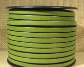 5mm Flat Leather - Olive Green - L5F-11 - Choose Your Length