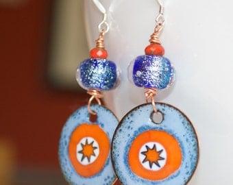 Star Earrings, Artisan Enamel Earrings, Blue Dichoric Glass Earrings, Orange Earrings, Lampwork Glass Bead Earrings, Super Hero Earrings