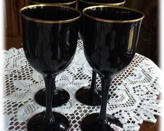 "4 Noritake Hand Made REMEMBRANCE EBONY GOLD 7"" Wine Glass Stem Black Amethyst"