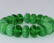 """Handmade Lampwork Beads, 20 Pieces """"Streaky Green"""", Size about 9.1 to 9.8 mm"""