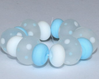 "Handmade Lampwork Beads, 14 Pieces ""Matte Clear, Sky Blue and White"", Size about 8.4 to 11.4 mm"
