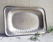 Vintage Pewter Dish, Small Pewter Tray, Aged Metal Patina, Metal Serving Tray, Hammered Pewter, Silver Metal Plate, Norway Tinn Hand Beaten