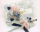 Wedding Guest Book, Navy Blue, Rose, Blush, Gray, Ivory, Bridal Shower, Lace Guest Book, Signature Book, Pen, Sign in Book, Elegant,Birthday