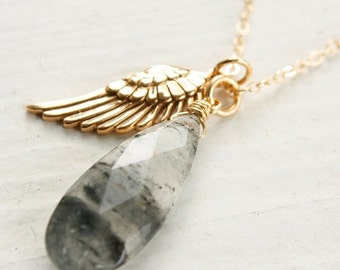 25% OFF Gold Black Rutile Quartz Necklace - Black Tourmalinated Quartz - Wing Charm Necklace, 14K Gold Fill
