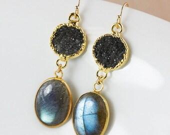 50 OFF SALE Druzy and Blue Labradorite Earrings – Dangle – 14K Gold Fill