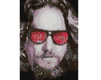 Jeff Bridges portrait counted Cross Stitch Pattern The Big Labowski