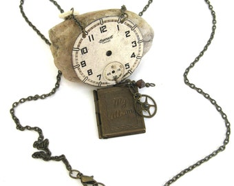vintage  inspired artisan necklace   ...  up cycled  ... hand made  ...   steampunk