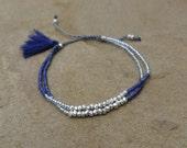 Summer Boho Chic - Beaded Tassel Bracelet/Anklet - Blue/Silver Glass Beads-Pewter Beads - Friendship Stackable Bracelet ~