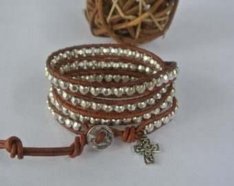 Cross Silver Pewter Beaded Natural Leather Wrap Bracelet