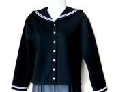 Black - Sailor - Jacket - Women - Size Medium - Sweatshirt - White Piping - Military - High Fashion - France - White Snaps - Layer - Classic