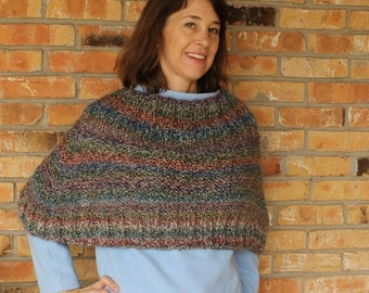 Knitting Pattern, Knit Cape Pattern, Easy to Knit Poncho Pattern, Knitting Pattern for Homespun Yarn, Knitted Hood Design, DIY Gift Idea