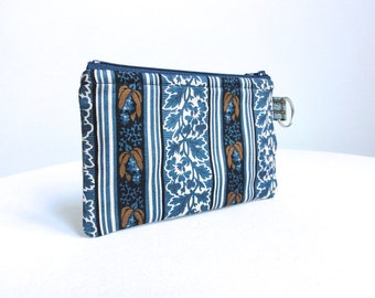 Blue and Brown Zippered Bag / Coin Purse / Id Case / Gadget Pouch with Split Ring - READY TO SHIP