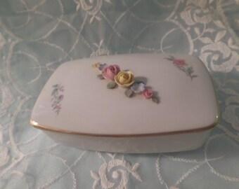 Vintage Porcelain Sandizell & Hoffner DRESDEN Vanity Trinket Dish RARE Covered