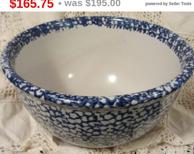 "RED WING Huge 11"" Cobalt Blue Sponge Stoneware Crockware Bowl, Vintage Red Wing Bowl, Kitchen Bowl, Mixing Bowl"