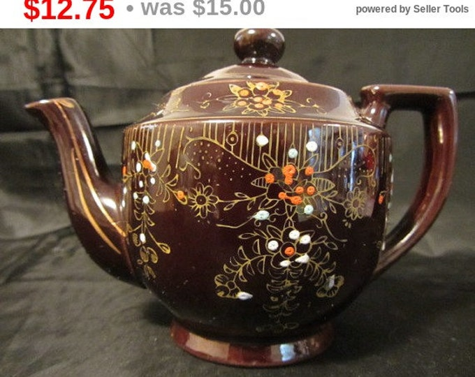 Antique Brown Made in Japan Clay Teapot, Collectable Teapot, Vintage Teapot, Kitchen, Dinning, Serving, Display, Flower Pot