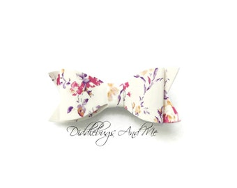 Fall Flower Faux Leather Hair Bow, Faux Leather Hair Bow, Hair Bow, Piggy Tail Bow, Holiday Hair Bow, Hair Bow For Girls, Fall Hair Bow