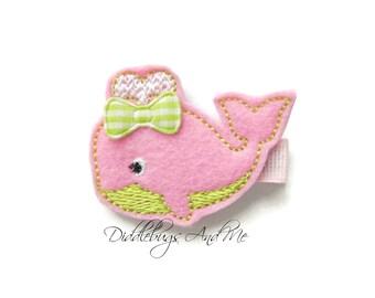 Pink Whale Hair Clip,  Whale Hair Clip, Girl's Pink And Lime Whale Hair Clip,  Felt Whale Hair Clip, Beach Hair Clip, Lime And Pink Whale