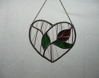 Heart with rose stained glass suncatcher
