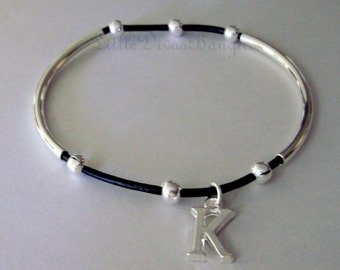 1 Leather  Double Silver Tubes Bangle  w/ Silver Initial Genuine Natural Leather Cord Beaded Bracelet -Pick COLOR - Gift For Her USA  001