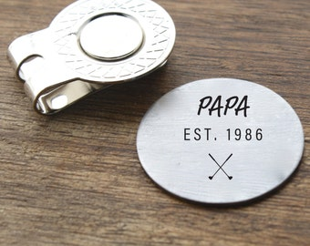 Papa Est Golf Ball Marker with Magnetic Hat Clip Engraving Papa Golf Ball Marker Personalized Papa Gift New Grandpa Gift Men's Gift