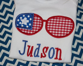 4th of July sunglasses bodysuit, tshirt, or ruffle dress- monogrammed with name