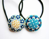 Button Ponytail Holders - Intricate Floral