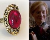 Edith Cushing Crimson Peak Ruby Red Gold Filigree Ring- r665