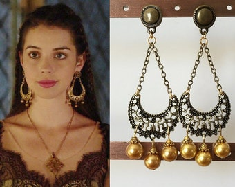 Mary stuart reign gold diamond filigree necklace by for Mary queen of scots replica jewelry