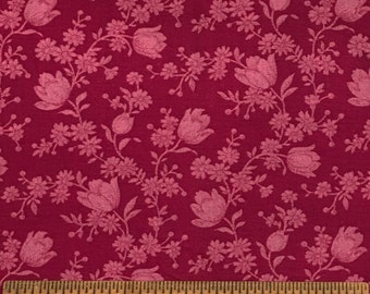 Joan Kessler for Concord Fabrics Cotton Cranberry Floral Colorway 1 Yard