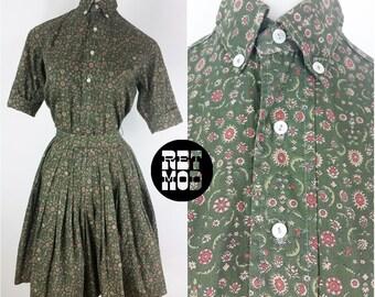 Adorable 2-Piece Set - Vintage 50s Cotton Green Floral Skirt Set!