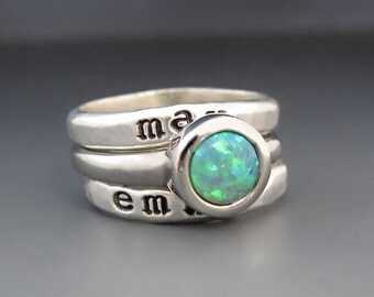 SET Sterling Silver Custom Hand Stamped Personalized Stacking Rings / Stainless Steel Green Gemstone Spacer Ring /Children's  Name Rings