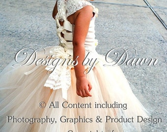 Private listing for delossantos1219 -November - 2 Pink & Gray flower girl dresses with train and lace!