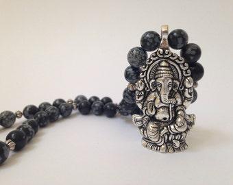 Obsidian Ganesh Necklace