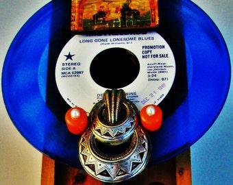 "HANK WILLIAMS Liquor Caddy Tribute Art, Blue Vinyl Record Kentucky Bourbon Box, Cowboys Country Music ""Long Gone Lonesome Blues"" Nashville"