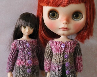 Shades of Pink knitted cardigan for Blythe, Ruruko, Azone or other doll same size