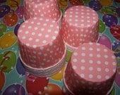 Treat/Portion Cups, Soft Pink/white Polka Dot, Party Cups, Cupcake Baking 24 Polka Dots Treat Cups