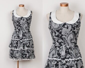 1960s Mini Dress - 60s Charcoal Black Cotton Paisley Ruffle Dress with Contrast Peter Pan Collar - M
