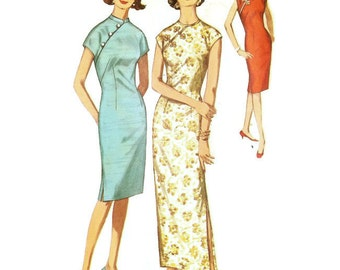 60s Cheongsam Style Evening Dress or Cocktail Dress Simplicity 5041 B34 Sz 14