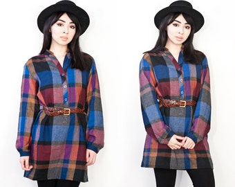 90's Wool Plaid Button Up Shirt Mini Dress Long Sleeve M L
