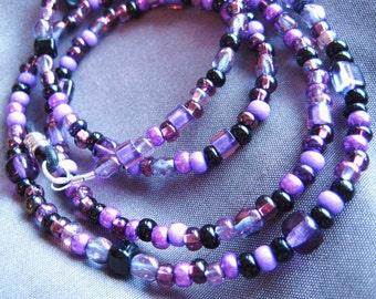 Handmade Lanyard for Sunglasses or Eyeglasses, purple, black, Seed Beads, Eyeglass Chain, Eyeglass Holder, Eyewear Accessory
