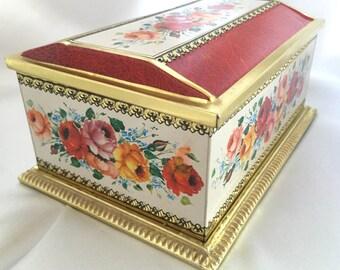 Vintage Linette West German floral tin with lid