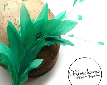Stripped Diamond Coque & Goose Feather Wired Millinery Hat Mount - Jade