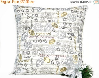 Christmas in July Sale Christmas Pillow Cover Cushion Pine Cones Snowflakes Music Notes Silver Gray Gold Rustic 18x18