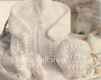 Matinee coat, bonnet and bootees knitting  pattern. Instant PDF download!
