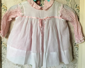 2-pc pink polka dot dress and sheer pinafore set 12-18m