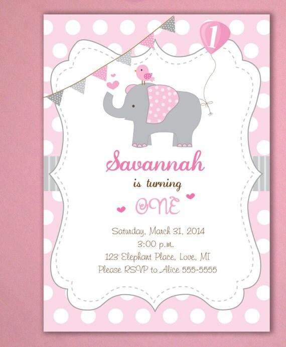 Elephant Birthday Invitations Little Peanut Invitations Pink – Elephant Birthday Invitations