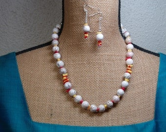 American White Buffalo Turquoise, Coral, 925 Silver Necklace and Earrings