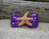 Starfish Purple Sequin Ribbon Bow Hair Clip,Mermaid Birthday Party, Beach Weddings,Girl Hair Clip, Summer Vacation, Starfish Hair Clip,Ocean
