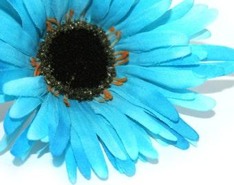 Aqual Blue Wild Gerbera Daisy - Artificial Flowers, Silk Flower Heads - PRE-ORDER
