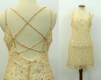 Floral Babydoll Dress Mini Sheer Yellow Sheath 90s Grunge Sundress Sheer Open Strappy Back Pink Flowers Bohemian Vintage 1990s Ditsy Medium